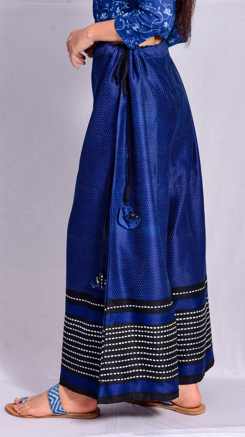 Indigo Dyed Khadi Print Flared Pants