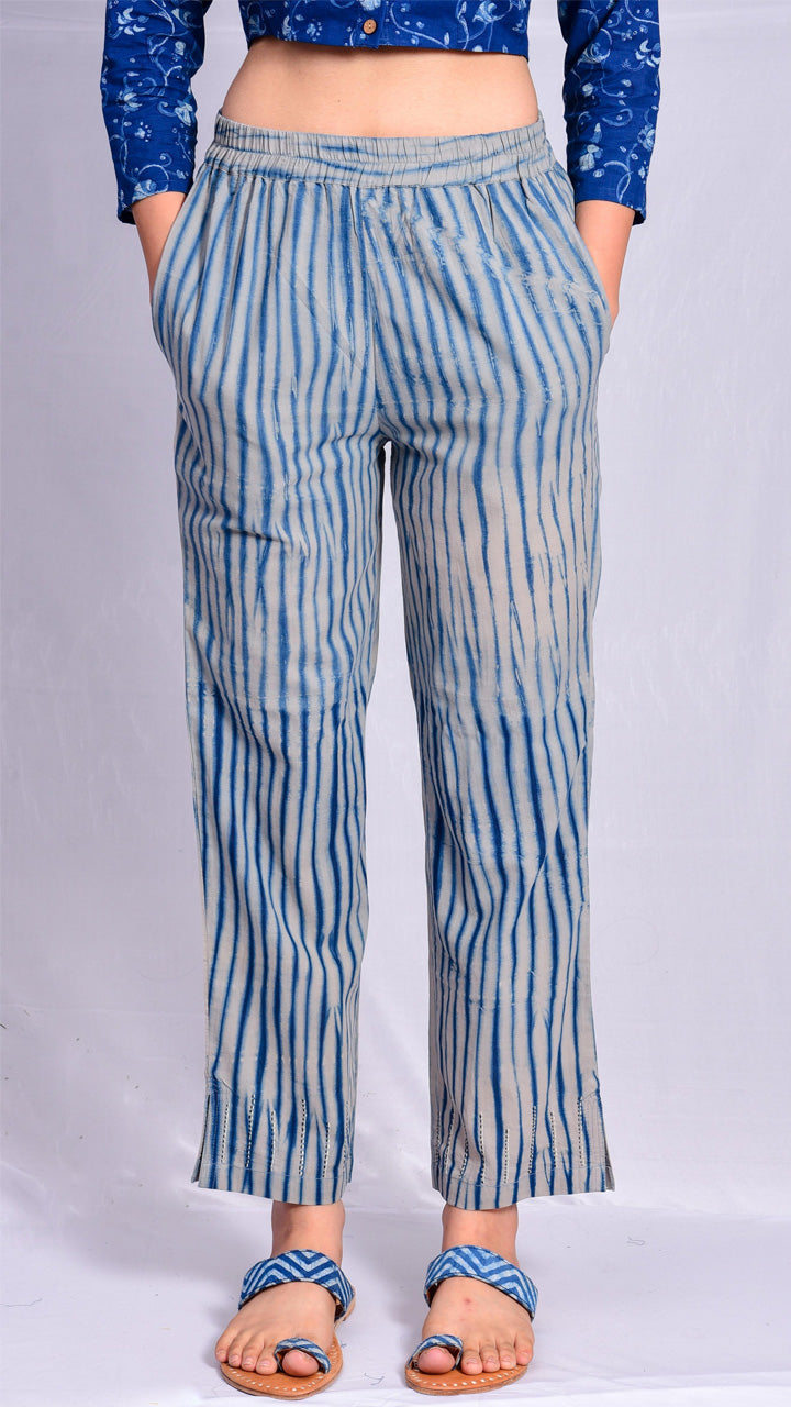 Indigo Dyed Narrow Pants - Aavaran Udaipur