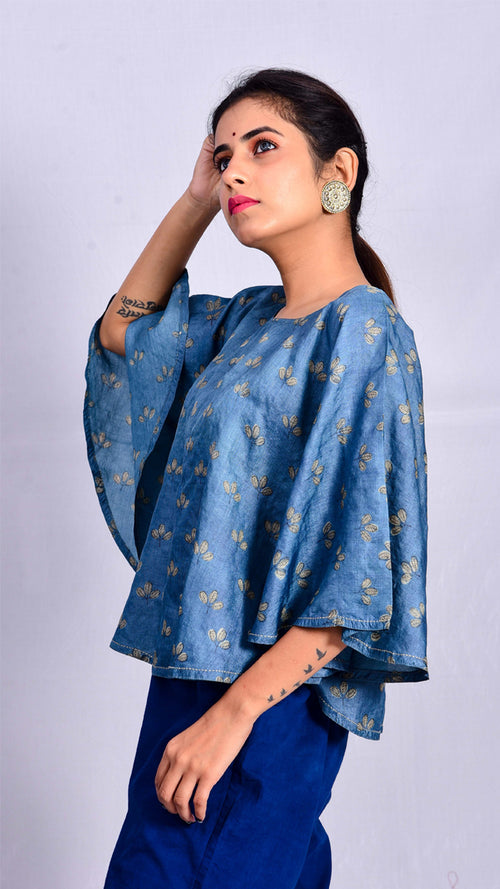 Indigo dyed and dabu printed poncho top - Aavaran Udaipur