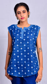Indigo dyed and dabu printed sleeveless top - Aavaran Udaipur
