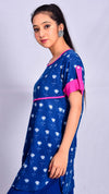 Indigo dyed and dabu printed top with pink colour trims - Aavaran Udaipur