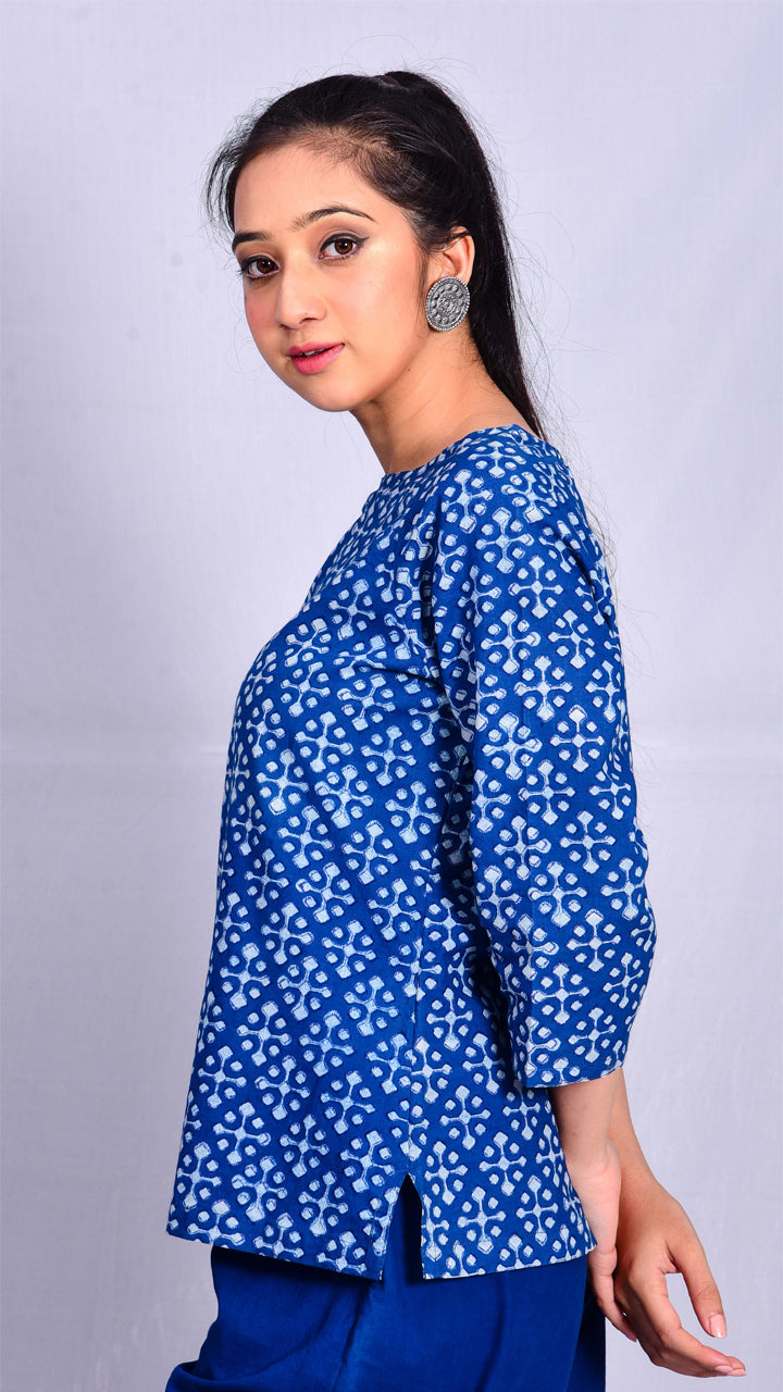Indigo dyed top with dabu print - Aavaran Udaipur