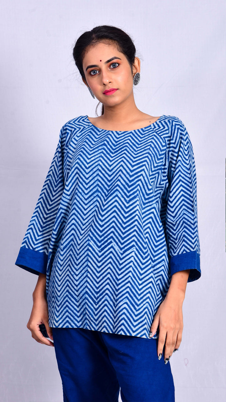 Indigo dyed top with dabu printed chevrons - Aavaran Udaipur