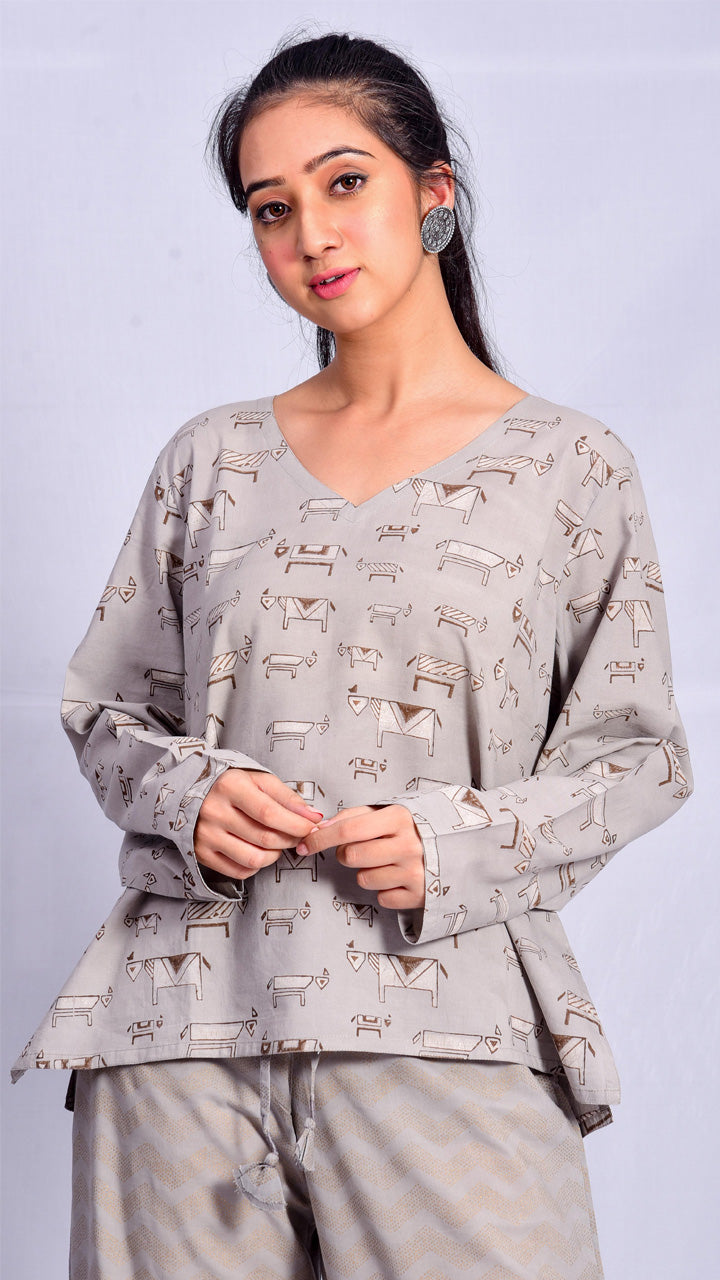 Kashish Dyed Dabu Print Short Top - Aavaran Udaipur