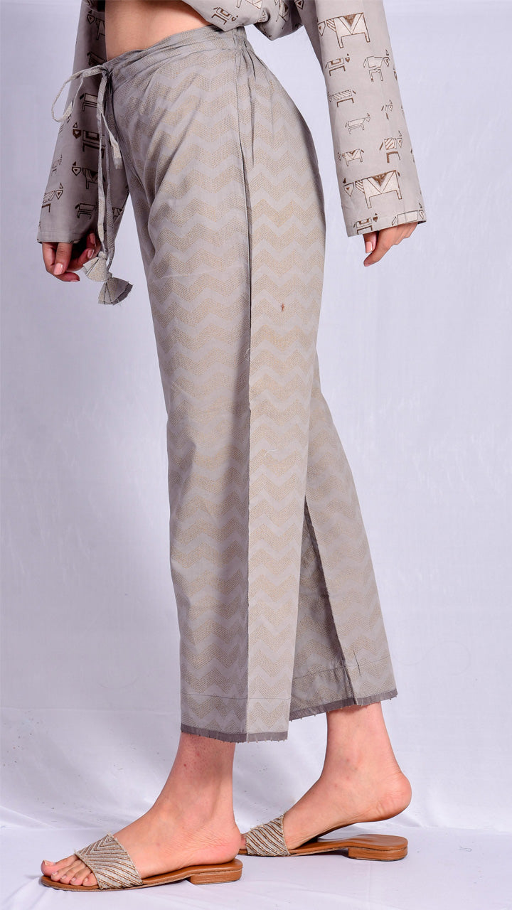 Kashish Dyed Gold Print Straight Pants - Aavaran Udaipur