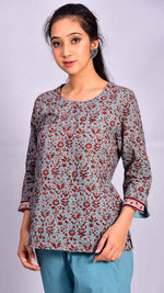 Light Indigo Pigment Print Short Top - Aavaran Udaipur