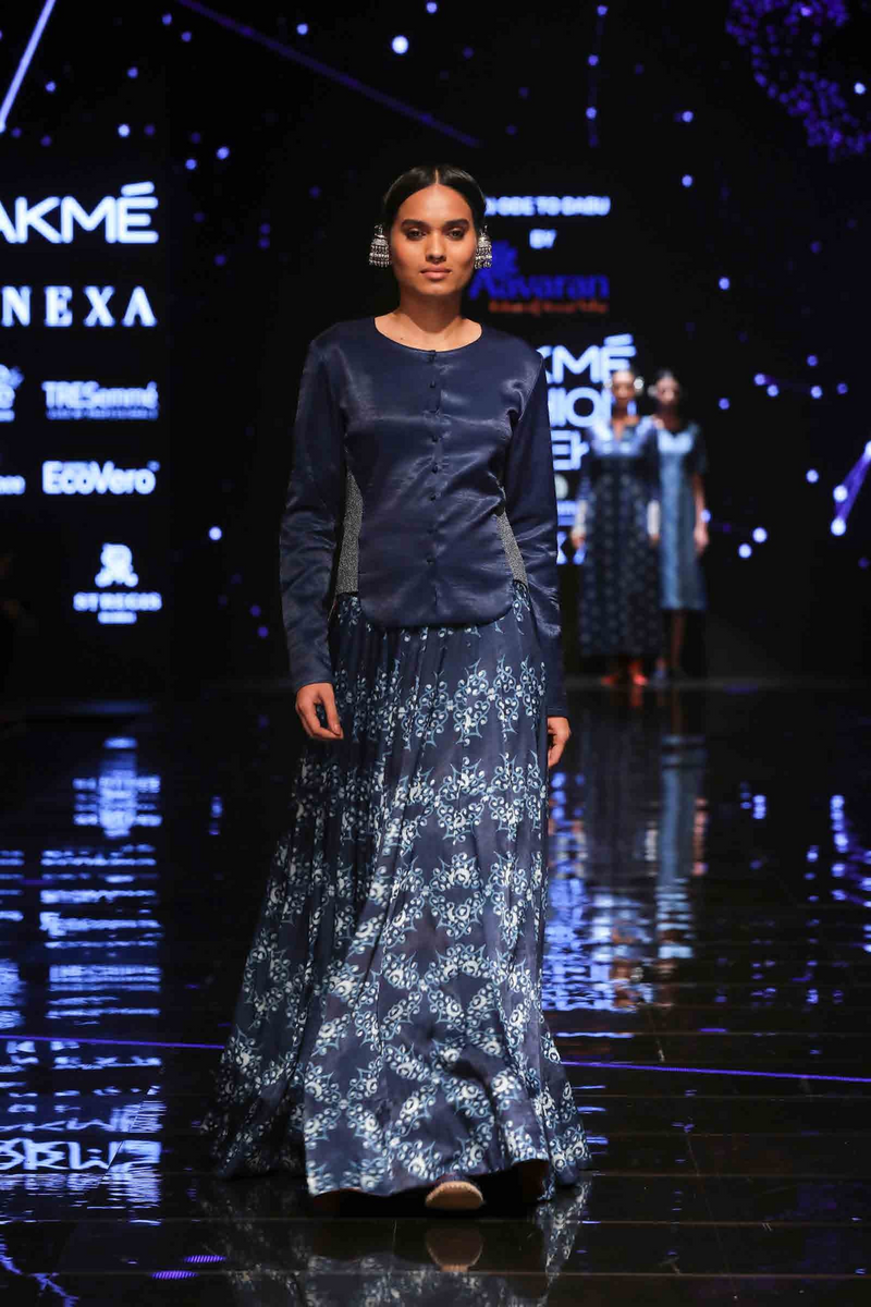 Indigo dyed top with Printed Skirt - Aavaran Udaipur