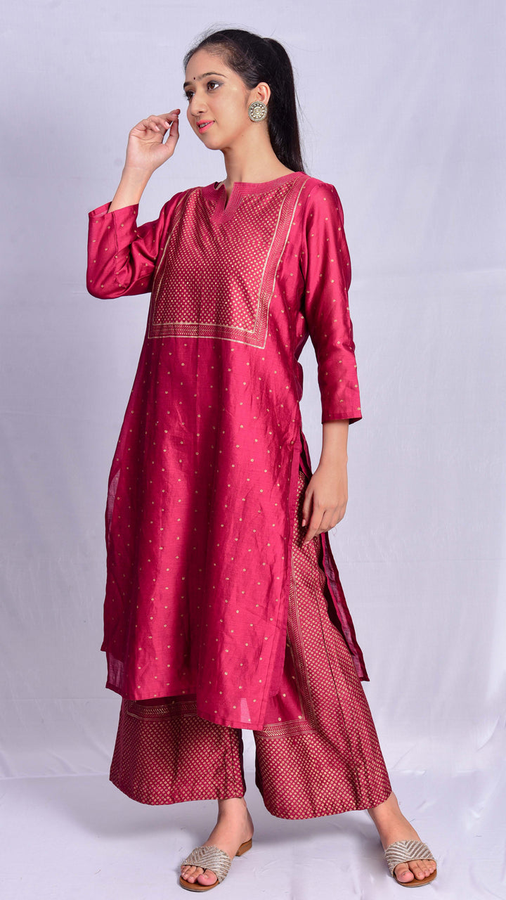 Gajari Gold Print Two Piece Straight Kurta - Aavaran Udaipur