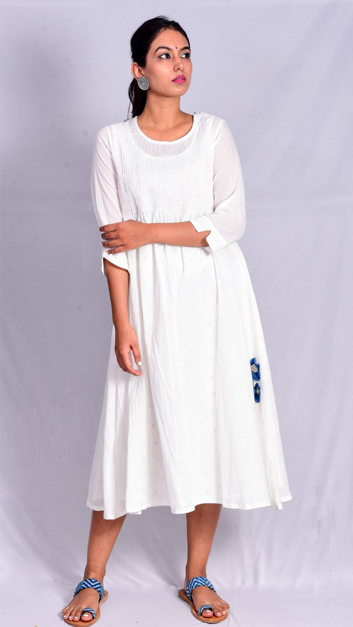 Two Piece Flared White Dress - Aavaran Udaipur