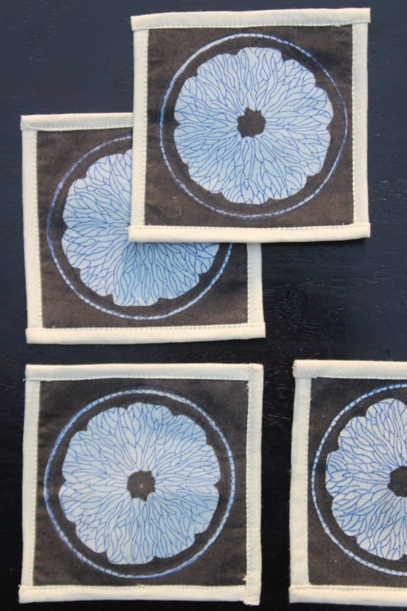 Pigment Printed Coasters(Set of 4) - Aavaran Udaipur