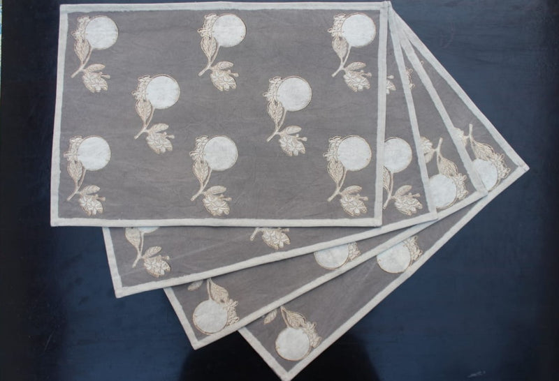 Kashish Dyed Dabu Printed Mats(Set of 4) - Aavaran Udaipur