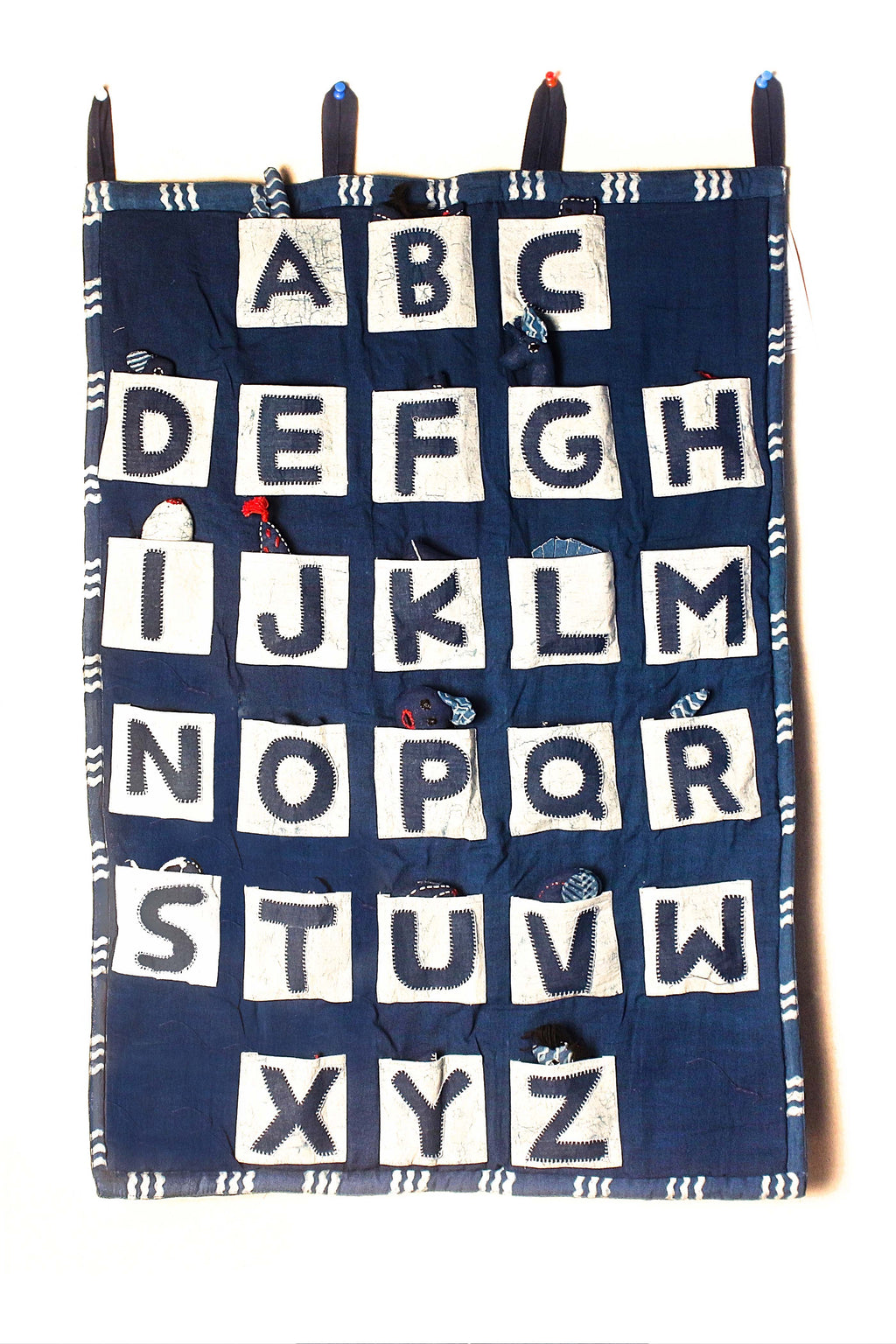 Indigo Dyed Quilted ABCD Chart - Aavaran Udaipur