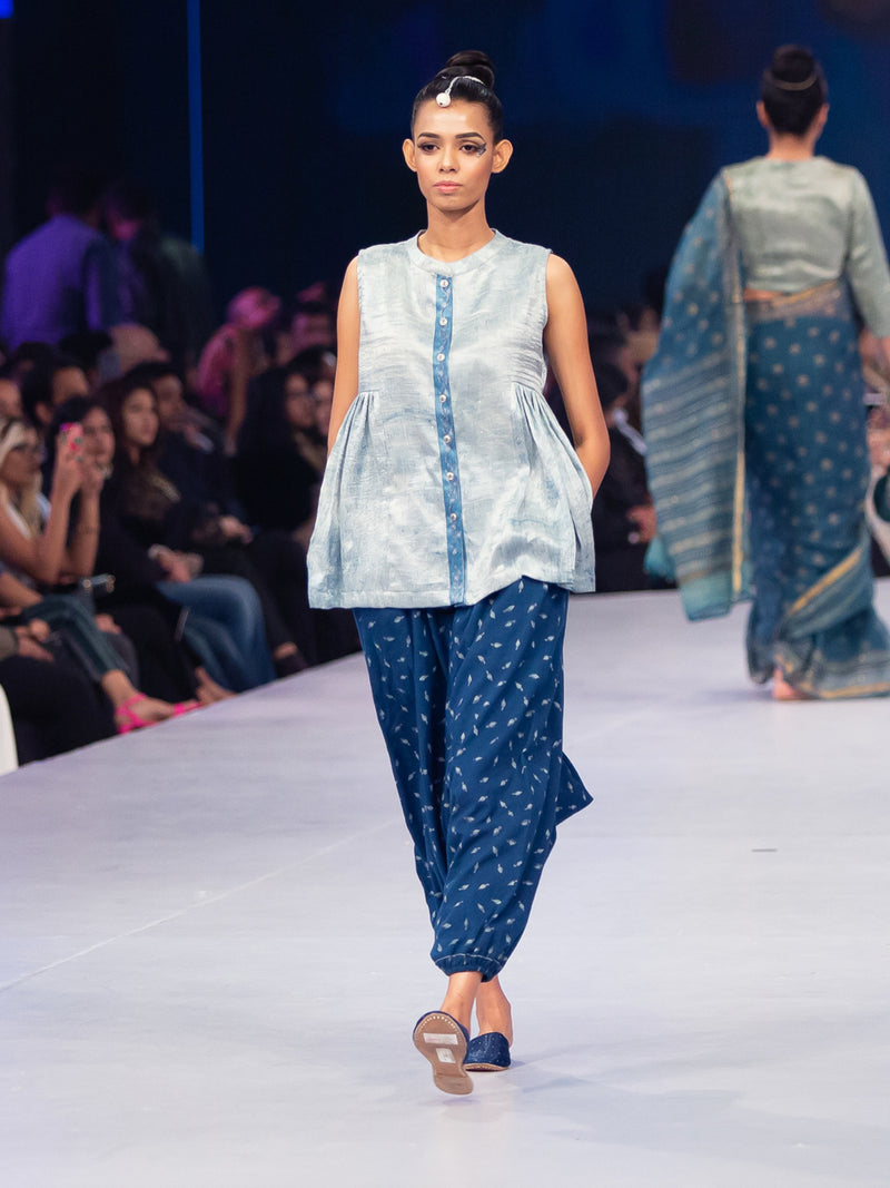 Indigo Dyed Short top and Harem Pants