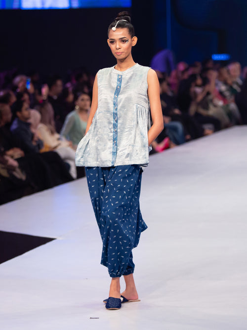 Indigo Dyed Short top and Harem Pants - Aavaran Udaipur