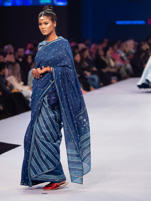 Indigo Dyed Chanderi Saree & Blouse
