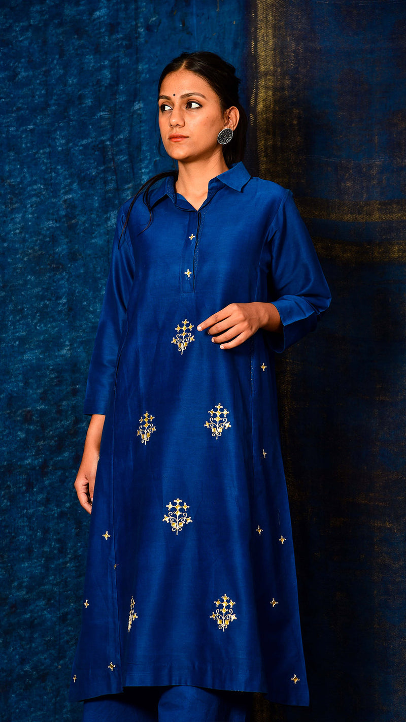 Indigo dyed Flared Kurta