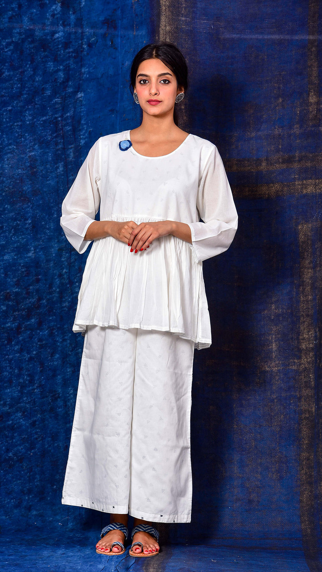 Flared White Tunic - Aavaran Udaipur