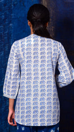 Blue Pigment printed Short top - Aavaran Udaipur