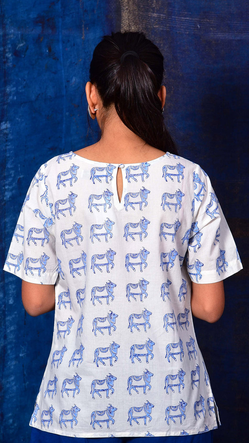 Blue Pigment printed Short top