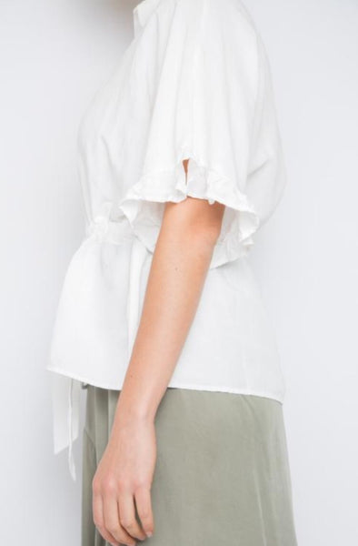 KOUDI TOP IN WHITE LINEN BLEND