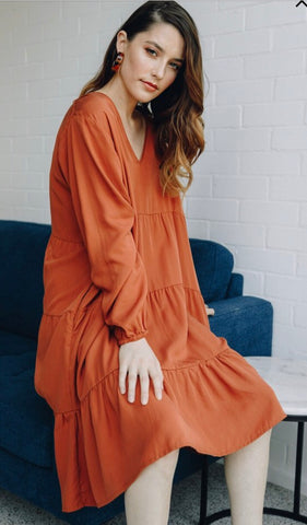Rust Tiered Dress