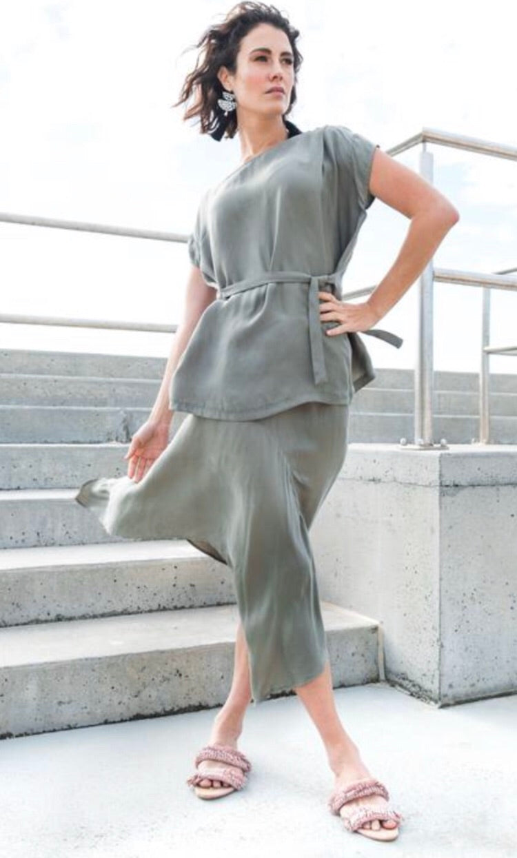 Waterfall Cupro Skirt in Khaki