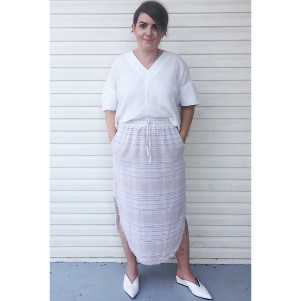 ROMA STRIPE MIDI SKIRT