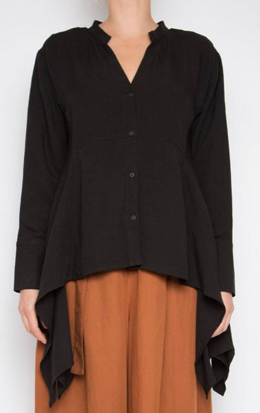 Paqoda handkerchief button up shirt in black