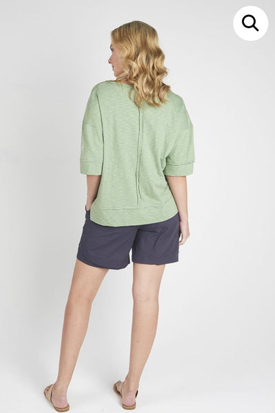 Torju Sun Glare V-Neck Tee in khaki organic cotton