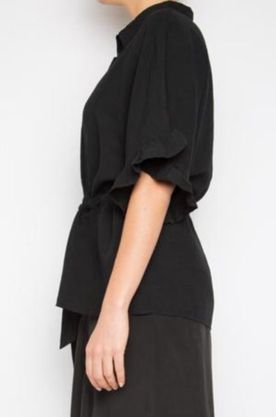 KOUDI TOP IN BLACK LINEN BLEND