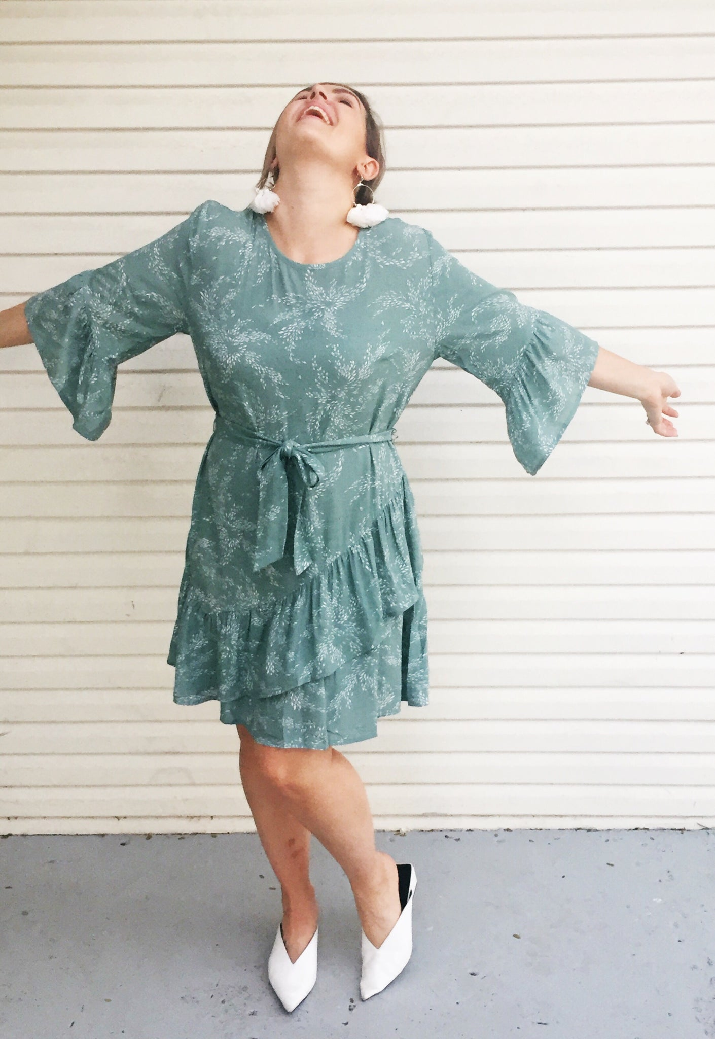 WINKS BELL SLEEVE SAGE DRESS