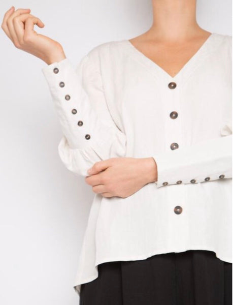 Buttoned Cuff Sleeve Pearl Shirt