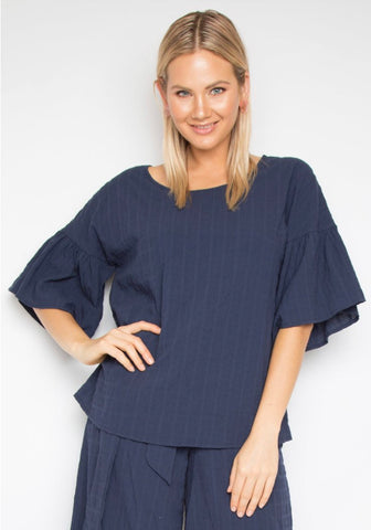 Navy Bell Sleeve Cotton Top