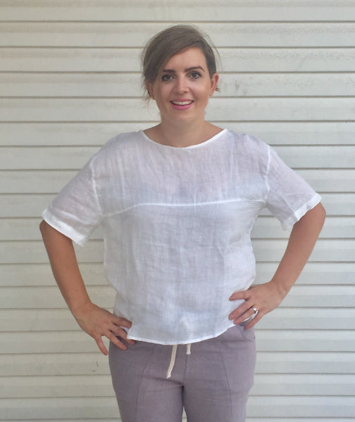 AIRLIE BUTTON BACK WHITE COTTON TOP