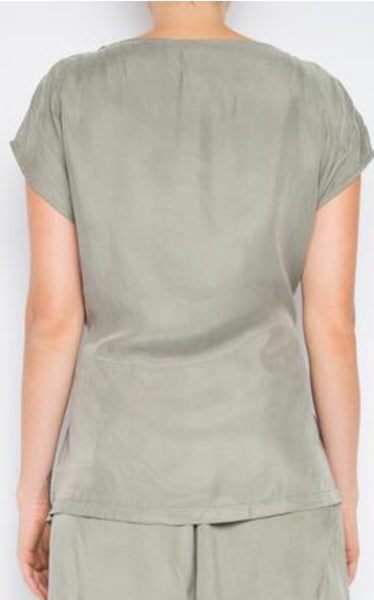 Cap Sleeve Cupro Top in Khaki