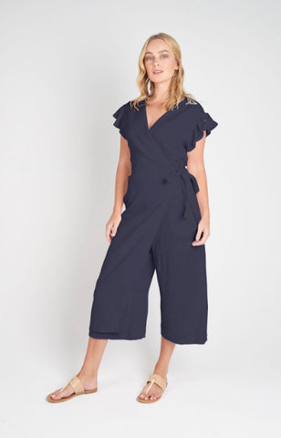 Torju Sunset Jumpsuit in indigo stripe organic cotton