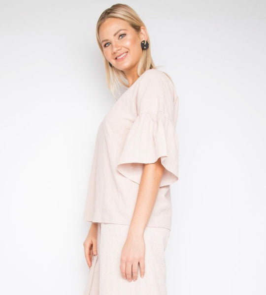 Blush Bell Sleeve Cotton Top