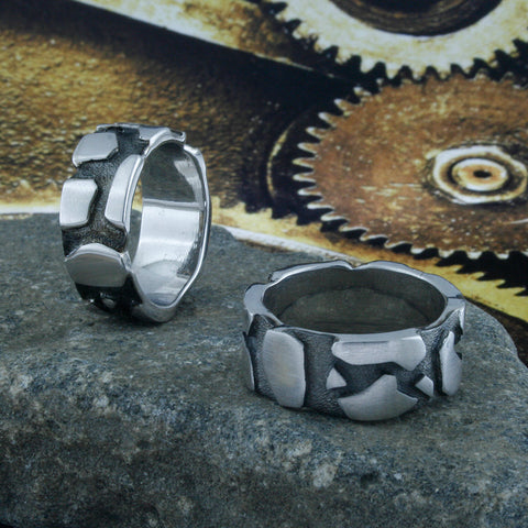 Image of Cracked Earth Ring Band, Cracked Earth, Lava, Rock Formation, Earth Crust