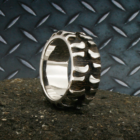 Image of Tire Tread Ring, Mud Bogger Band, Mens Ring, Wedding Tire Ring, Chevy Ring