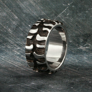 Tire Tread Ring, Mud Bogger Band, Mens Ring, Wedding Tire Ring, Chevy Ring