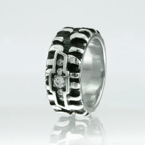 Chevy Tire Ring with Tire Treads, Black and White Silver with Quartz Diamonds