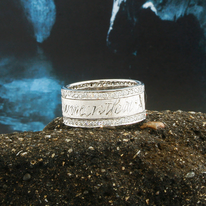 Custom Spinning Band, 18K White Gold Plated, Personalized Name in English & Arabic, Desert Diamonds