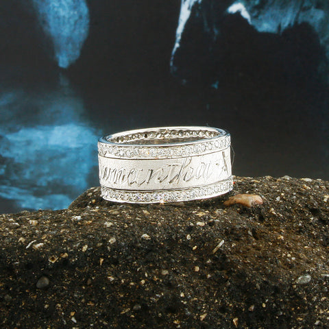 Image of Custom Spinning Band, 18K White Gold Plated, Personalized Name in English & Arabic, Desert Diamonds