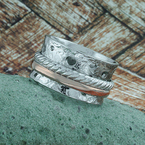 Image of Spinning Band, White & Rose Gold Plated, Silver, Rings Fiddle Band