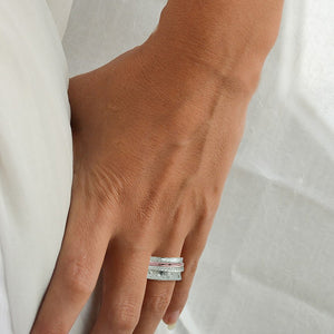 Spinning Band, White & Rose Gold Plated, Silver, Rings Fiddle Band