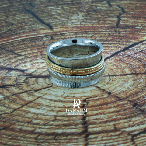 Fiddle Band Spinning Ring, White & Yellow Gold Plated Silver Band