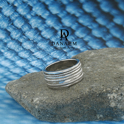 Image of 5 Bands Spinning Ring, White Gold Plated Silver Band