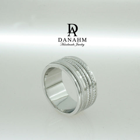 5 Bands Spinning Ring, White Gold Plated Silver Band