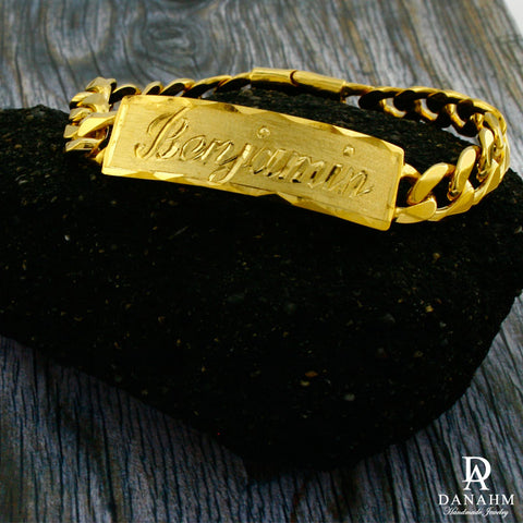 Image of Men Gold Bracelet with Cuban Links, 18 KT Yellow Gold Plated, Custom Name Hand Engraved in English