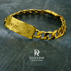 Men Gold Bracelet with Cuban Links, 18 KT Yellow Gold Plated, Custom Name Hand Engraved in English